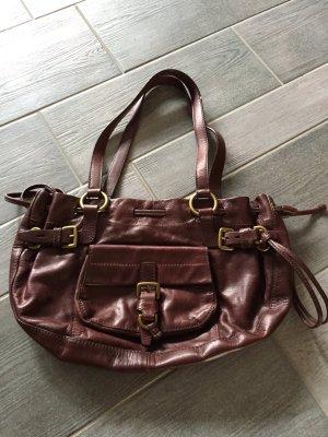 Hugo Boss Handtasche Leder Tasche Bag Schultertasche braun rotbraun gold