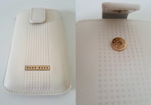 Hugo Boss Custodia per cellulare crema-color oro rosa Pelle