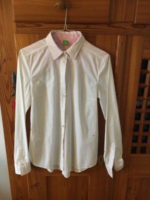Hugo Boss Hemdbluse Weiß mit Rosa Effekten - Größe S - wie neu*