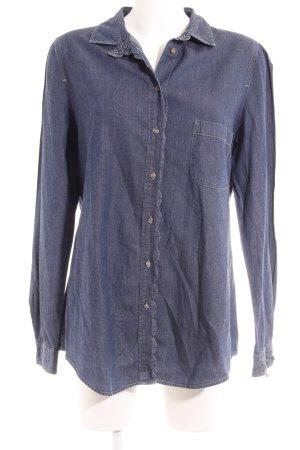 Hugo Boss Jeansbluse dunkelblau-graublau Webmuster Casual-Look