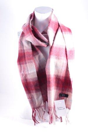Hugo Boss Écharpe en cachemire rouge foncé-rosé motif à carreaux