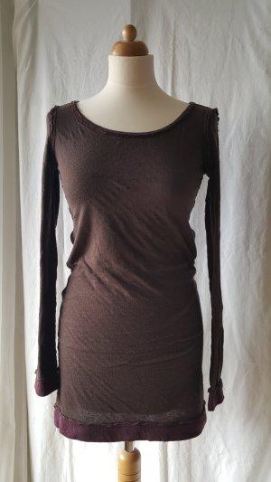 Hugo Boss Lang shirt donkerbruin-braambesrood