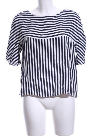 Hugo Boss Kurzarm-Bluse schwarz-weiß Streifenmuster Business-Look