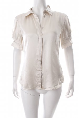 Hugo Boss Kurzarm-Bluse hellbeige Glanz-Optik
