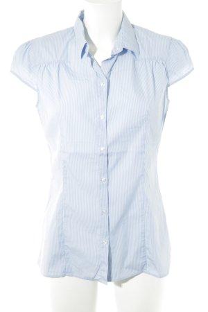 Hugo Boss Kurzarm-Bluse himmelblau-weiß Streifenmuster Casual-Look