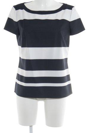 Hugo Boss Kurzarm-Bluse weiß-dunkelblau Streifenmuster Business-Look