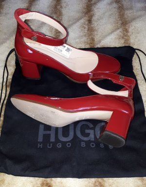 """Hugo Boss Lackpumps """"Molly P"""" rot Riemchen Gr. 40, Neupreis 295 €, 1× getragen"""