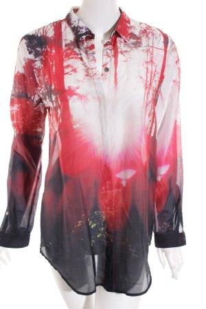 Hugo Boss Langarm-Bluse abstraktes Muster Elegant