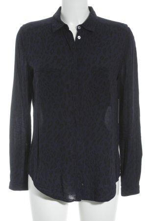 Hugo Boss Langarm-Bluse schwarz-dunkelblau Leomuster Casual-Look