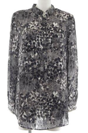 Hugo Boss Langarm-Bluse schwarz-weiß abstraktes Muster Casual-Look