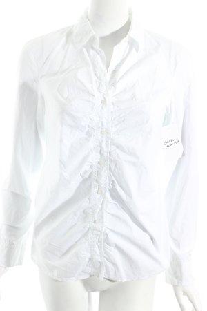 Hugo Boss Langarm-Bluse weiß schlichter Stil