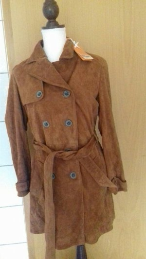 Hugo Boss Leather Coat light brown suede