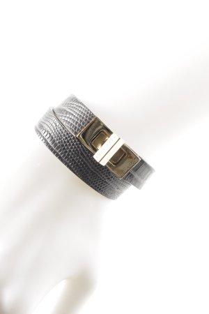 Hugo Boss Leather Bracelet grey-gold-colored reptile print