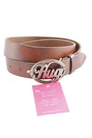 Hugo Boss Cinturón de cuero marrón-color plata look casual