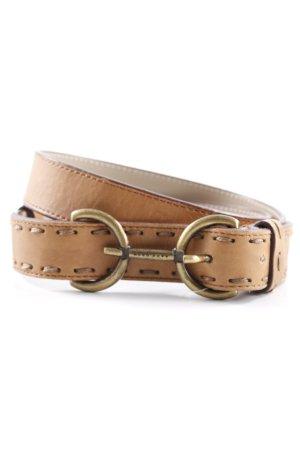Hugo Boss Cinturón de cuero marrón claro-color oro look Street-Style