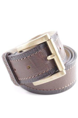 Hugo Boss Leather Belt black brown-dark brown striped pattern casual look