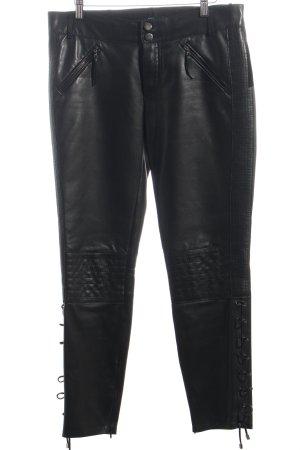 Hugo Boss Pantalone in pelle nero Stile ciclista