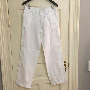 Hugo Boss Low-Rise Trousers white linen