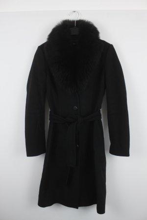 Hugo Boss Mantel Gr. 36 schwarz mit Pelzkragen (18/7/219/R/E)
