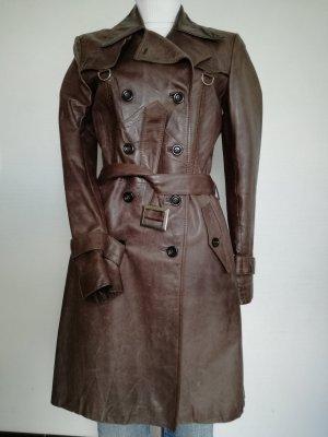 Hugo Boss Cappotto in pelle marrone scuro-marrone Pelle