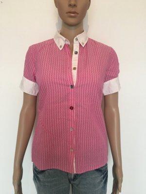Hugo Boss Orange Bluse halbarm 36 Pink weiß zierknöpfe Muster Designer lässig edel sportlich Luxus