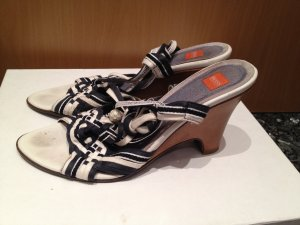 Hugo Boss Pumps met sleehak wit-blauw