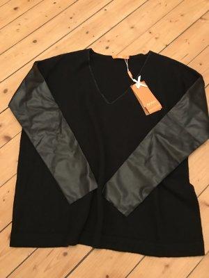 Hugo Boss Orange Pullover mit Lederimitat Ärmeln neu 179€ Kasmir