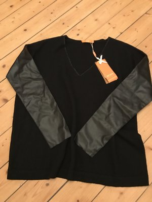 Hugo Boss Orange Pullover mit Lederimitat Ärmeln neu 179€ mit Kasmir