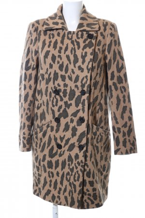 Hugo Boss Oversized Coat natural white-bronze-colored leopard pattern
