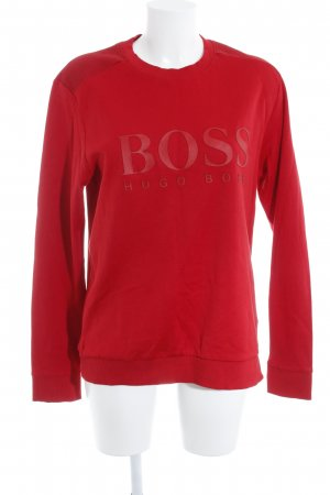 Hugo Boss Oversized Pullover rot-schwarz Schriftzug gedruckt Boyfriend-Look