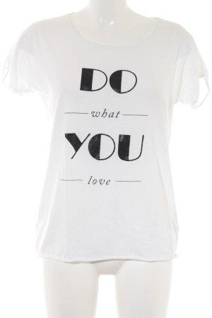 Hugo Boss Print-Shirt weiß-schwarz Schriftzug gedruckt Casual-Look