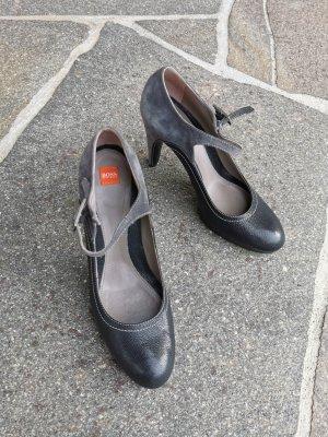 Hugo Boss Tacones Mary Jane gris oscuro-petróleo