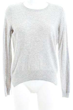 Hugo Boss Kraagloze sweater lichtgrijs-zilver gestippeld casual uitstraling