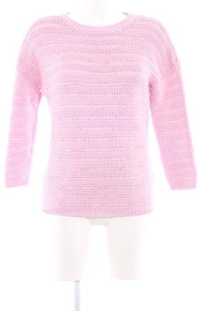Hugo Boss Rundhalspullover rosa Webmuster Casual-Look