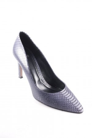 Hugo Boss Spitz-Pumps graublau Reptil-Optik