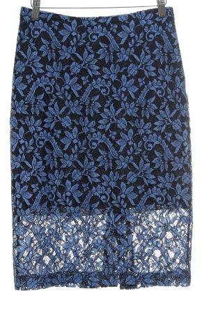 Hugo Boss Kanten rok donkerblauw-staalblauw bloemen patroon Geweldige look