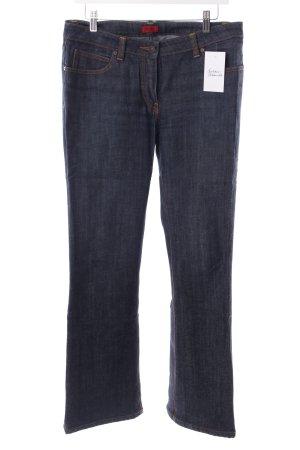 Hugo Boss Straight-Leg Jeans dunkelblau meliert Logostickerei
