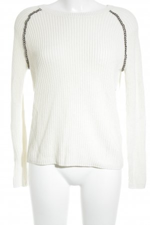 Hugo Boss Strickpullover wollweiß-silberfarben Street-Fashion-Look