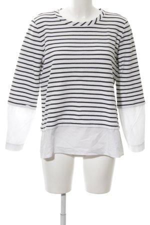 Hugo Boss Strickshirt weiß-schwarz Streifenmuster Casual-Look