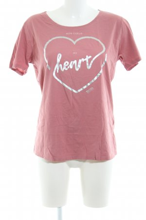 Hugo Boss T-Shirt pink-silberfarben Motivdruck Casual-Look