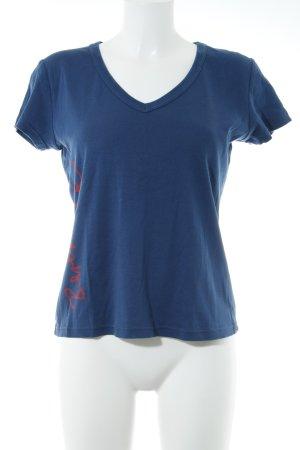 Hugo Boss T-Shirt blau-rot Schriftzug gedruckt Casual-Look