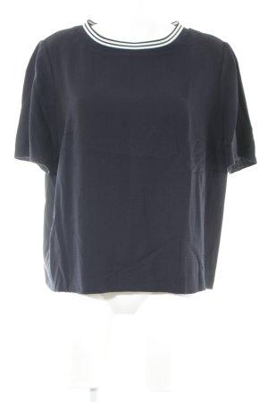 Hugo Boss T-Shirt dunkelblau-weiß Streifenmuster Casual-Look