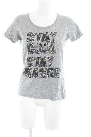 Hugo Boss T-Shirt hellgrau Schriftzug gedruckt Casual-Look