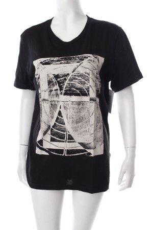 Hugo Boss T-Shirt schwarz-creme Schriftzug gedruckt Destroy-Optik