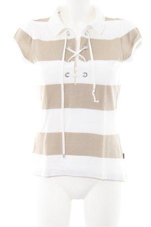 Hugo Boss Camiseta blanco-beige estampado a rayas estilo sencillo