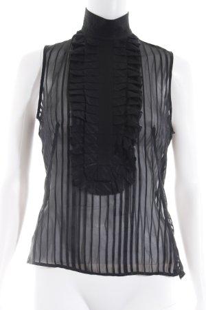 Hugo Boss Transparenz-Bluse schwarz Streifenmuster Elegant