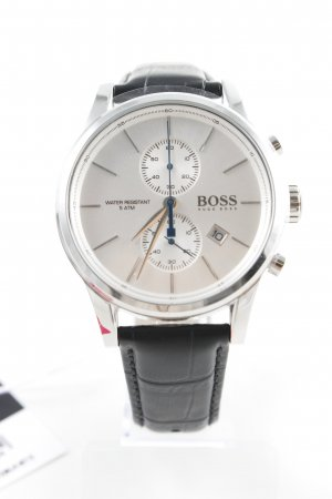 Hugo Boss Watch With Leather Strap black-silver-colored business style