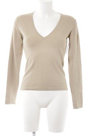 Hugo Boss V-Ausschnitt-Pullover beige Casual-Look
