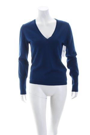 Hugo Boss V-Ausschnitt-Pullover blau schlichter Stil