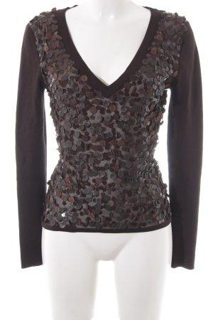 Hugo Boss V-Ausschnitt-Pullover dunkelbraun schlichter Stil